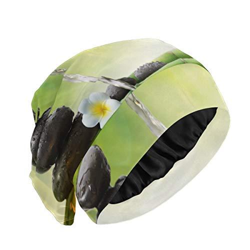 Gorro de tela para dormir Piedras en el jardín con flujo de agua Bambú Gorro de dormir lindo Gorro de dormir de noche duradero y suave exterior para cabello largo natural rizado Disponible día y noch