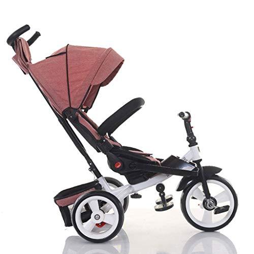 CAIM Trike/driewieler 360 graden draaibaar voor kinderen in een driewieler met zonnedak en afneembare handgreep voor kinderwagen.