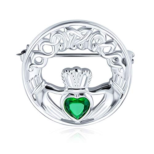 Celtic Claddagh Round Circle Brooch Pin For Women Kelly Green Heart Shaped Cubic Zirconia 925 Sterling Silver
