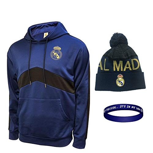 Real Madrid Hoodies and Beanie for Mens Adults Winter Sweater Pullover New Season Official Licensed Set RM7 (Navy Set 2, L)
