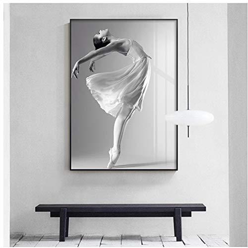 A&D Ballett Mädchen Poster Stil Bilder Leinwandbilder Schwarz Und Weiß Wandbilder Für Wohnzimmer Schlafzimmer Druck auf leinwand -50x70 cm Kein Rahmen