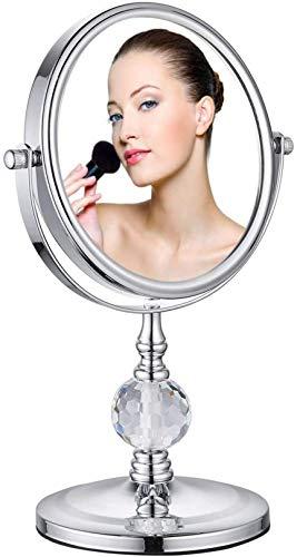 WWJ Miroir de Maquillage grossissant Double Face, grossissement 1X et 8X avec Rotation à 360 degré- Clair et Transparent