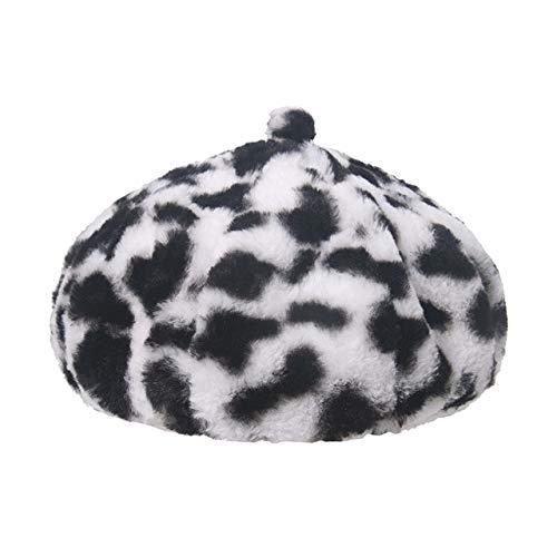 Invierno al Aire Libre Vacaciones señoraNegro sólido Espesado Suave cálido Gorra de Pesca Sombrero de Cubo para Mujer-Cow Berets