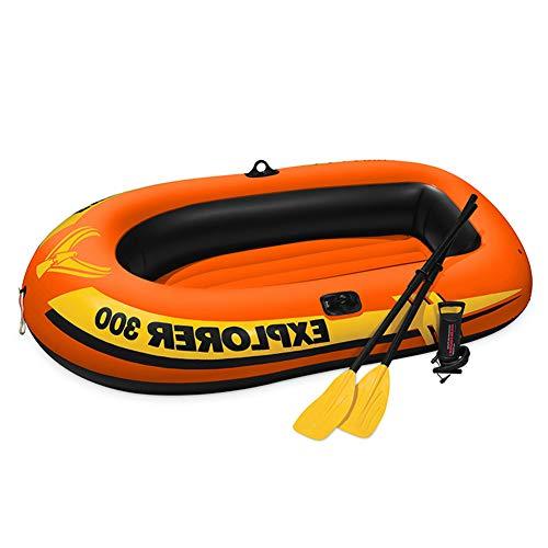 Ouumeis Kayak,211×117×41Cm,Barco Inflable Al Aire Libre Barco De Deriva Barco De Pesca Adulto Canoa De Aventura,Kayaks Hinchables De PVC para 3 Personas,con Paleta De Plástico Y Bomba De Aire