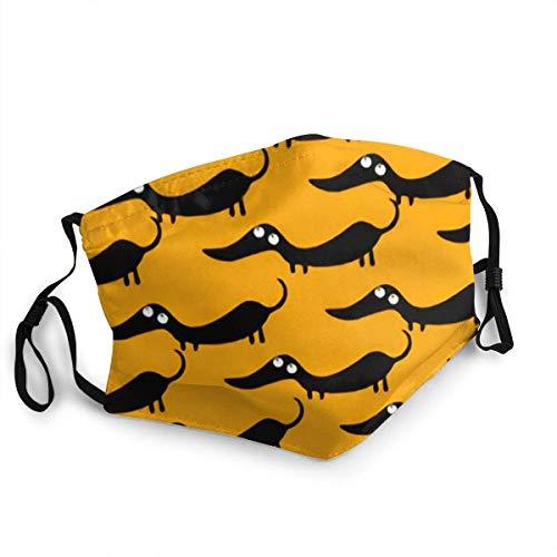 Patrón de perro de dibujos animados Animal Salvaje Dachshund Lavable Reutilizable Máscaras de Seguridad Escudo Pasamontañas Deportes al aire libre Negro