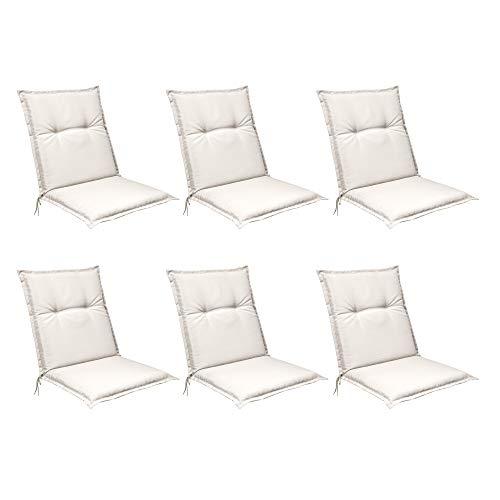Beautissu Set de 6 Cojines para sillas de Exterior, tumbonas, mecedoras o Asientos con Respaldo bajo Base NL 100x50x6 Placas compactas de gomaespuma - Natural