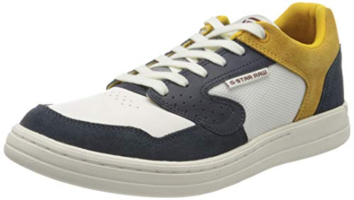 G-STAR RAW Herren Mimemis Low Sneaker, Mehrfarbig (Mazarine Blue/Milk/Yellow C249-B374), 45 EU