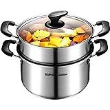 Regalos Casa apilable Pasta Pot, Hogar Escuela de cocina industrial de utensilios de cocina de acero inoxidable Diámetro 22CM en vapor olla con tapa transparente de ahorro de energía de diseño (tamaño