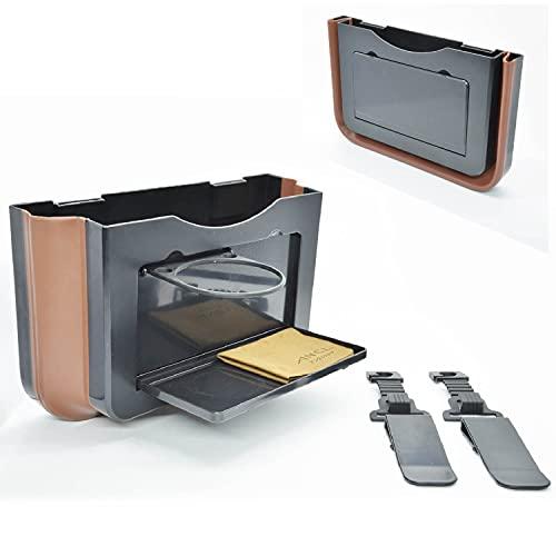 ANCL 車用ゴミ箱 車 収納 ポケット 多機種対応 クリップ式 ドリンクホルダー テーブル付 (Black)