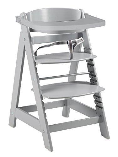 roba Treppenhochstuhl \'Sit Up Click & Fun\', Hochstuhl inklusive abnehmbarem Essbrett und Bügel, innovativer Klickverschluss, mitwachsend vom Babyhochstuhl bis zum Jugendstuhl, Holz-Hochstuhl, taupe