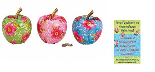 +d Porzellan Spardose Apfel mit Blumendekor & Postkarte Wie wär`s mal Wieder mit Einem ...  - Set ~