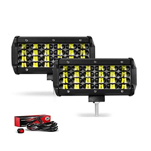 """LTPAG 2pcs Focos LED Tractor, 7' 258W 25800LM Faros Trabajo LED 12V-24V Luz de Niebla para Coche,SUV, UTV, ATV, Off-Road,Camión,Moto,Barco, IP68 Impermeable (7""""258+Cable)"""