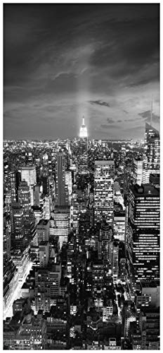 posterdepot ktt0115a deurbehang deurposter New York bij nacht-panoramablick over de stad-zwart-wit-grootte 93 x 205 cm