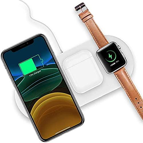 Cargador Inalámbrico 3 en 1, Cargador Inalámbrico Qi IWatch 4/3/2/1 y AirPods 2 Carga Inalámbrica Rápida de 7.5W iPhone 11 / Pro MAX/XS/XR y Galaxy y Todos Los Teléfonos Habilitados para Qi