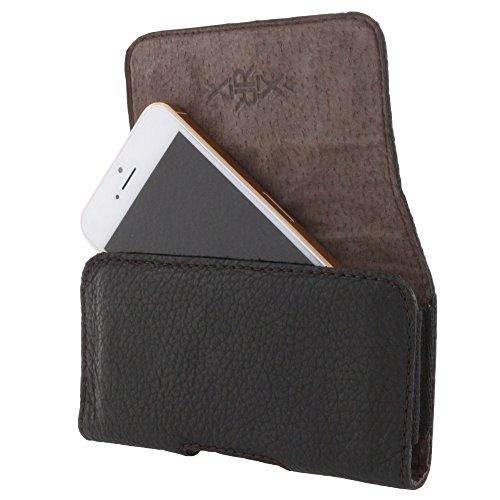 XiRRiX Echt Leder Quer Handy Tasche 2.3 L-Slim Gürteltasche passend für iPhone SE 5 5S / Nokia 230 / Sony Xperia XZ1 Compact - schwarz