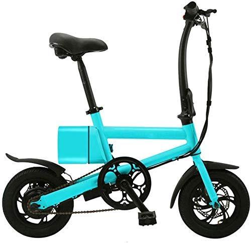GJJSZ Bicicleta eléctrica Plegable,Marco de aleación de Aluminio Mini Pedal de Dos Ruedas Coche eléctrico Scooter Ultraligero,con Ruedas de 12 Pulgadas Velocidad máxima 25 KM/H