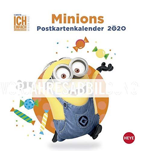Minions Postkartenkalender 2021 - Kalender mit perforierten Postkarten - zum Aufstellen und Aufhängen - mit Monatskalendarium - Format 16 x 17 cm