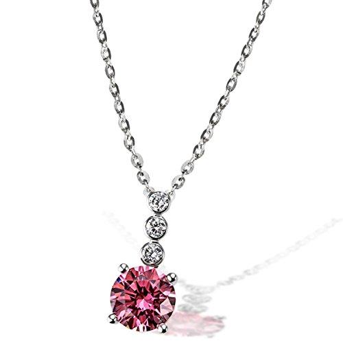 Goldmaid Damen-Kette mit Anhänger 925 Silber rhodiniert pink Brillantschliff Zirkonia 45 cm