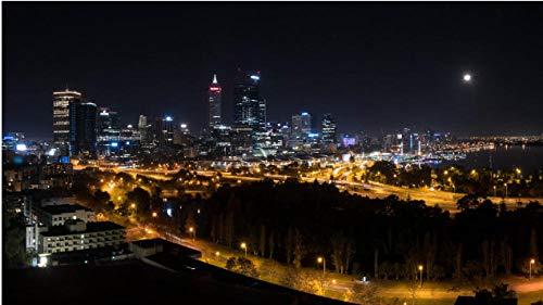 NOBRAND Puzzle 1000 Piezas Rompecabezas Ciudad De Noche Rascacielos Edificios Luces De La Ciudad Perth Australia Rompecabezas