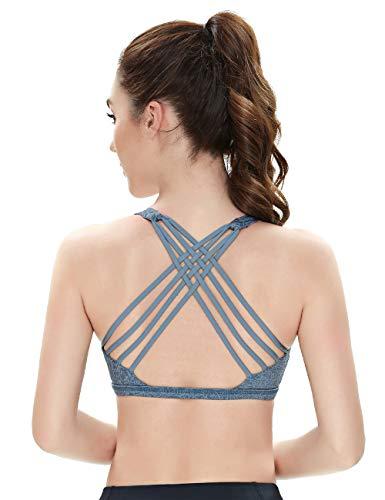 QUEENIEKE Damen Yoga Sport BH leichte Unterstützung Strappy frei BH Farbe Blaue Blüte Größe S(4/6)