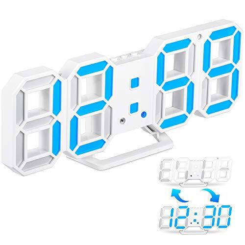Reloj Despertador Digital 3D LED, Reloj Despertador Números LED con 3 Niveles de Brillo Ajustable, USB Reloj de Pared Electrónico LED con Función de Repetición para Escritorio/Sala de Estar/Dormitorio