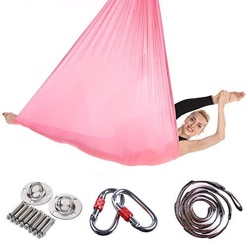 TEHWDE 5Mx2.8M Yoga Hangmat Vliegende Hangmat Swing Luchtvaart Yoga Hangmat Zijde Stoffen Set Veilig Luxe Luchtvaart Kit Antigravity Inclusief Staal Karabijnhaken Extension Straps