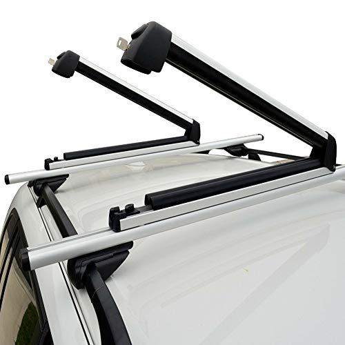 Elefama Ski Rackfor CarRoofUniversal Car Ski Snowboard Roof RacksSnowPack Carriers Fit 6 Pairs of Skis or 4 Snowboards Large Aluminum Lockable Ski Roof Rack Holderfor SUV Truck Roof Silver