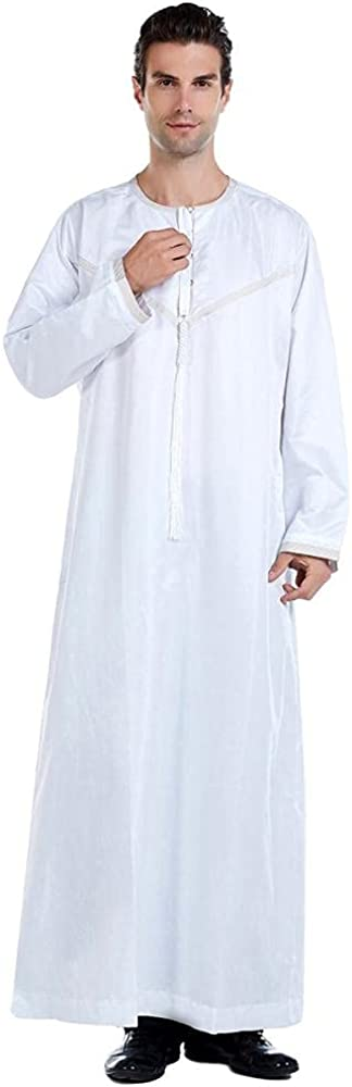 Men's Long Sleeve Robe Side Split Kaftan Cotton Long Gown Home Thobe Muslim Holiday Event Outfit