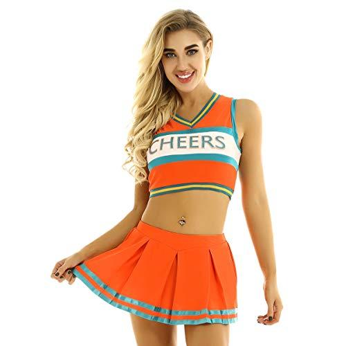ranrann Damen Tanzkostüm Cheerleading Uniform Kurzes Tank Top Minirock Plissee mit Cheers Gedruckt Verkleidung Rollenspiel Outfits für Performance Bühnen Orange Large