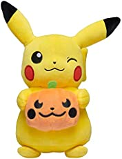 Pokemon Pikachu Halloween Seasonal Plush, 8 Plush Toy, Includes Plush Pumpkin Accessory- Super Soft, Authentic Details- Perfect for The Holidays, Playing & Displaying- Gotta Catch 'Em All