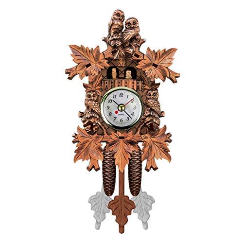OhhGo - Reloj de pared, diseño de cuco de madera, estilo de árbol de casa, estilo vintage, decoración del hogar, funciona con pilas