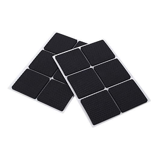 Viferr Rubberen voetjes voor houten vloerbedekking, voor op de tafel, bureau, muur, zwart, 12 stuks