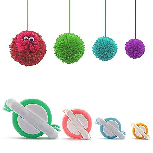 Pom Pom Maker, 4 Größen Fluff Ball Weaver Nadel PomPom Maker Sets-DIY Pompoms Handwerk Puppe Making Kits -Wool Garn Knitting Handwerk Werkzeug Set Pom-Pom Maker für Kinder & Kinder oder Erwachsene