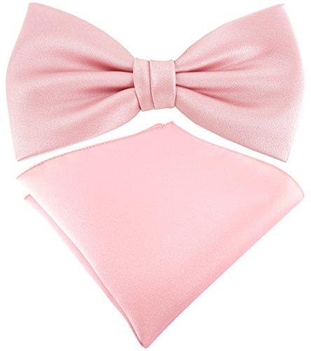 TigerTie Satin Fliege Einstecktuch in rosa Uni einfarbig + Aufbewahrungsbox