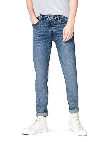 find. Slim Fit Jeans Herren mit Acid-Waschung, mittelhohem Bund und Kontrastnähten, Blau, W36/L32 (Herstellergröße: 36)