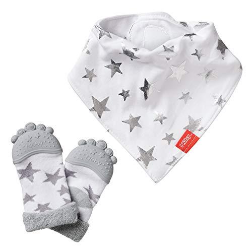 Nuby Teething Socks and Baby Dribble Bib Combo Set, White