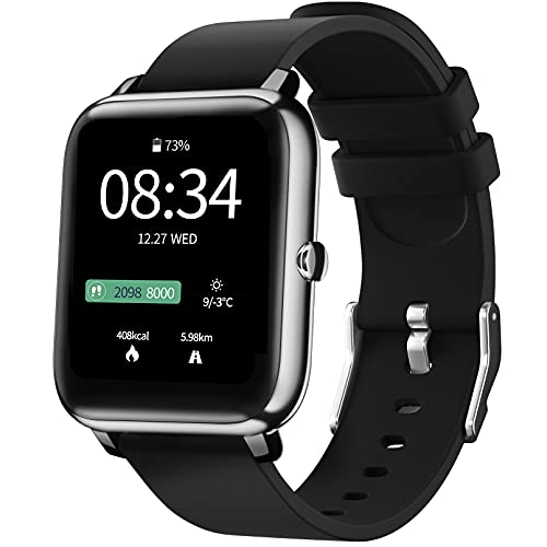 IDEALROYAL Smartwatch, P22 Reloj Inteligente Impermeable con Monitor de Frecuencia Cardíaca, Monitor de Sueño, Podómetro de Seguimiento de Actividad Física con Pantalla Táctil para Android iOS