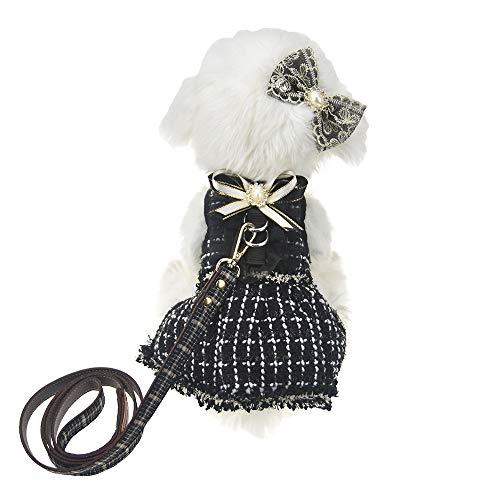 FLAdorepet 3-teiliges Hundegeschirr und Leine Set für kleine Hunde und Katzen, Kleid, Haarschleife, XL, schwarz