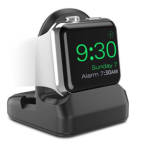 Apple Watch Series 4/3/2/1 スタンド ATiC アップルウォッチ [42mm&44mm,38mm&40mm] 、Apple Watch Series 5 (40mm & 44mm)に対応 シリコン製 TPU充電スタンド/充電クレードルドック/チャージャースタンド BLACK