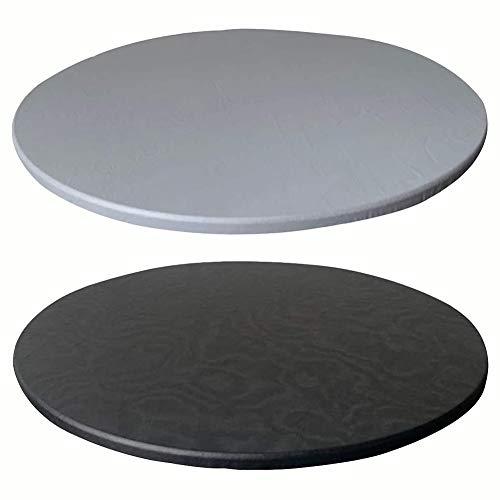 KYJSW 2 manteles redondos de poliéster elástico, lavable y resistente a la suciedad y antideslizante (gris+negro, 120 cm)