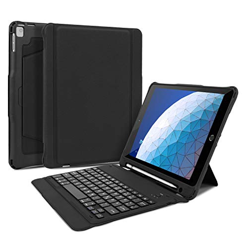 OMOTON abnehmbare Bluetooth Tastatur Hülle für iPad 10.2/iPad Pro 10.5/iPad Air 10.5, deutsches Layout QWERTZ Wireless Keyboard Case Cover, schwarz