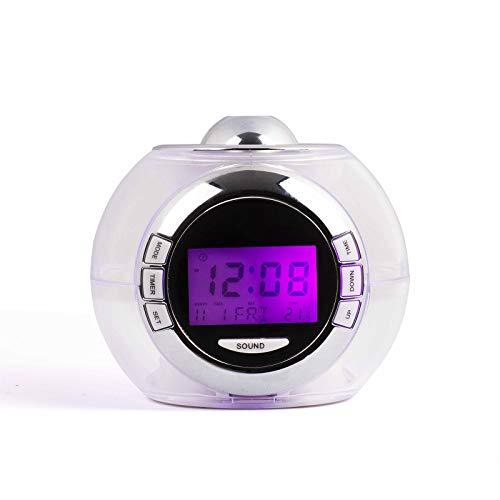 Proyección Reloj Despertador Despertador con cambio de color indicador de temperatura 6 sonidos Nature Sonido sonidos naturales de 7 colores pantalla LED Indicador de Fecha y temperatura proyección