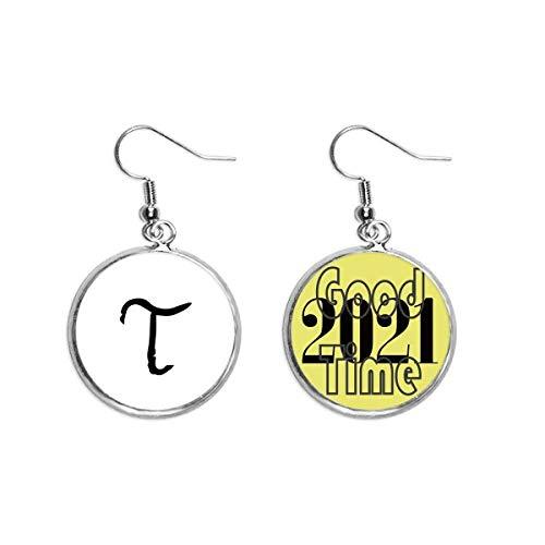 Ohrringe mit griechischem Alphabet, Tau, schwarze Silhouette, Schmuck 2021
