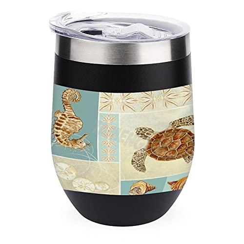 Resetumlare kopp för kaffe, vin, cocktails, glaslock för utomhus camping mugg vin kust strand hav strand strand sjöstrand collage havssköldpadda 355 ml vin dricksglas kopp med lock