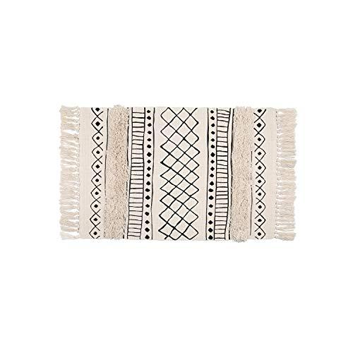 SHACOS Shaggy Teppich Modern Kurzflor Teppiche Baumwolle Creme Beige 60x90 cm Waschbare Teppiche Wohnzimmer Küche Draußen