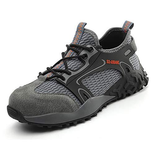Zapatos de Seguridad con Punta de Acero para Hombre Mujer - Cómodos Ligeros y Transpirables (Gris 999,Taille 45)
