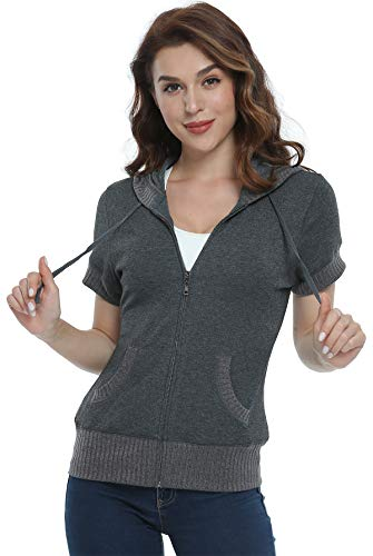 MISS MOLY Sudadera Mujer Sudaderas con Capucha Manga Corta Suéter Hoodies Pullover Outwear Encapuchado Tops Gris Oscuro X-Large