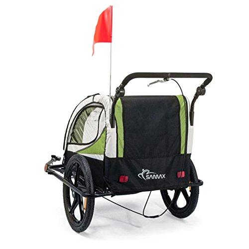 SAMAX Fahrradanhänger Jogger 2in1 360° drehbar Kinderanhänger Kinderfahrradanhänger Transportwagen vollgefederte Hinterachse für 2 Kinder in Grün – Black Frame - 4