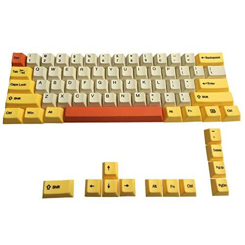 Happy Balls 60% PBTキーキャップ 染色サブキーキャップセット SeMi Profile 厚手MXキーキャップ トッププリント 標準ANSI 61 64 68 60%MXスイッチメカニカルキーボード(ベージュイエローオレンジコンボ)