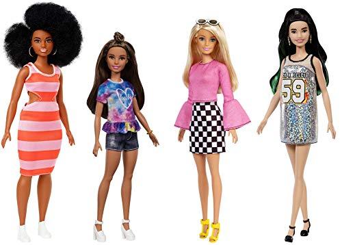 Mattel Barbie Fashionista-Pack de 4 muñecas con diferentes estilos, juguete +3 años,...